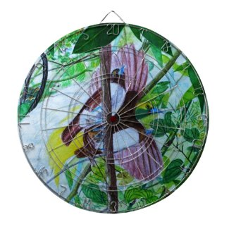 Paradise Birds in Watercolor Dart Board