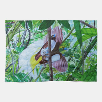 Paradise Birds in Watercolor Hand Towel