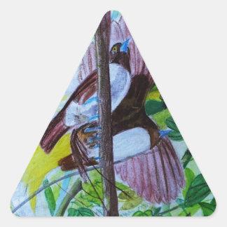 Paradise Birds in Watercolor Triangle Sticker