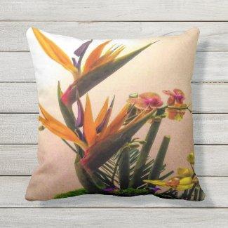 Paradise Birds Outdoor Pillow
