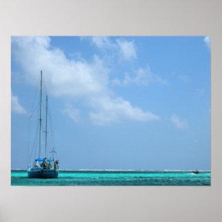 paradise boat scene poster