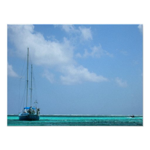 paradise boat scene posters