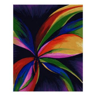 Paradise Colorful Rainbow Abstract Flower Art Poster