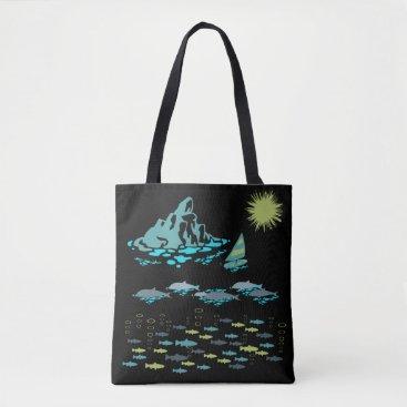 Beach Themed Paradise Dolphins Fish Windsurfer Sun Green Retro Tote Bag