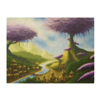 paradise fantasy landscape painting wood wall art