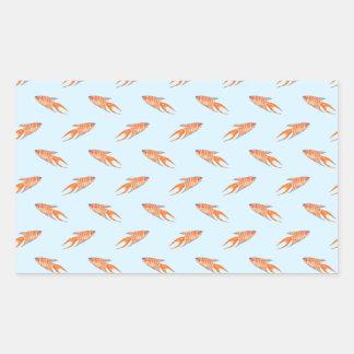Paradise Fish Pattern on Blue. Rectangular Sticker