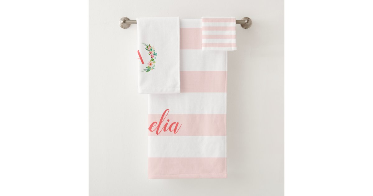 Stripes Monogram Bath Towel Set