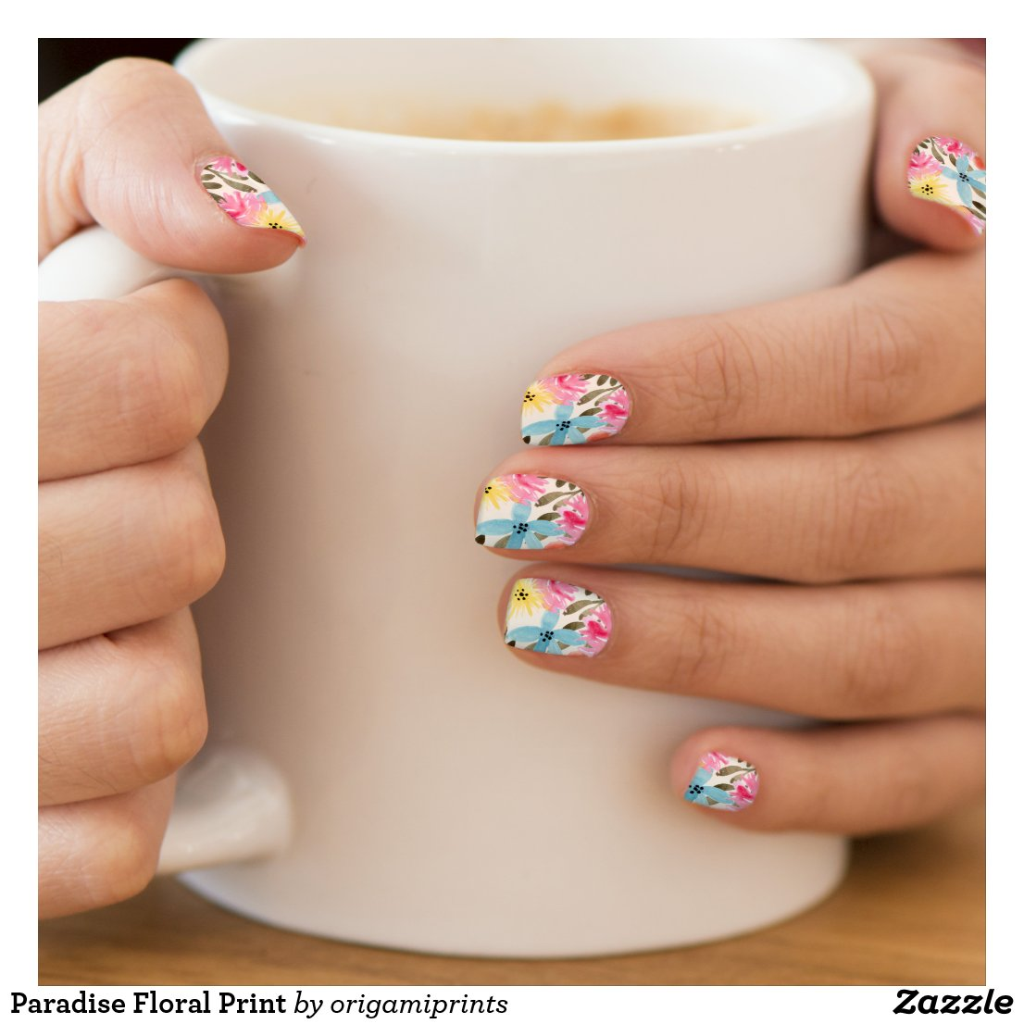Paradise Floral Print Minx Nail Wraps