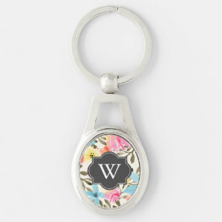 Paradise Floral Print Silver-Colored Oval Metal Keychain