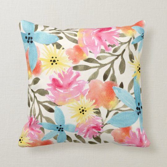 Paradise Floral Print Throw Pillow