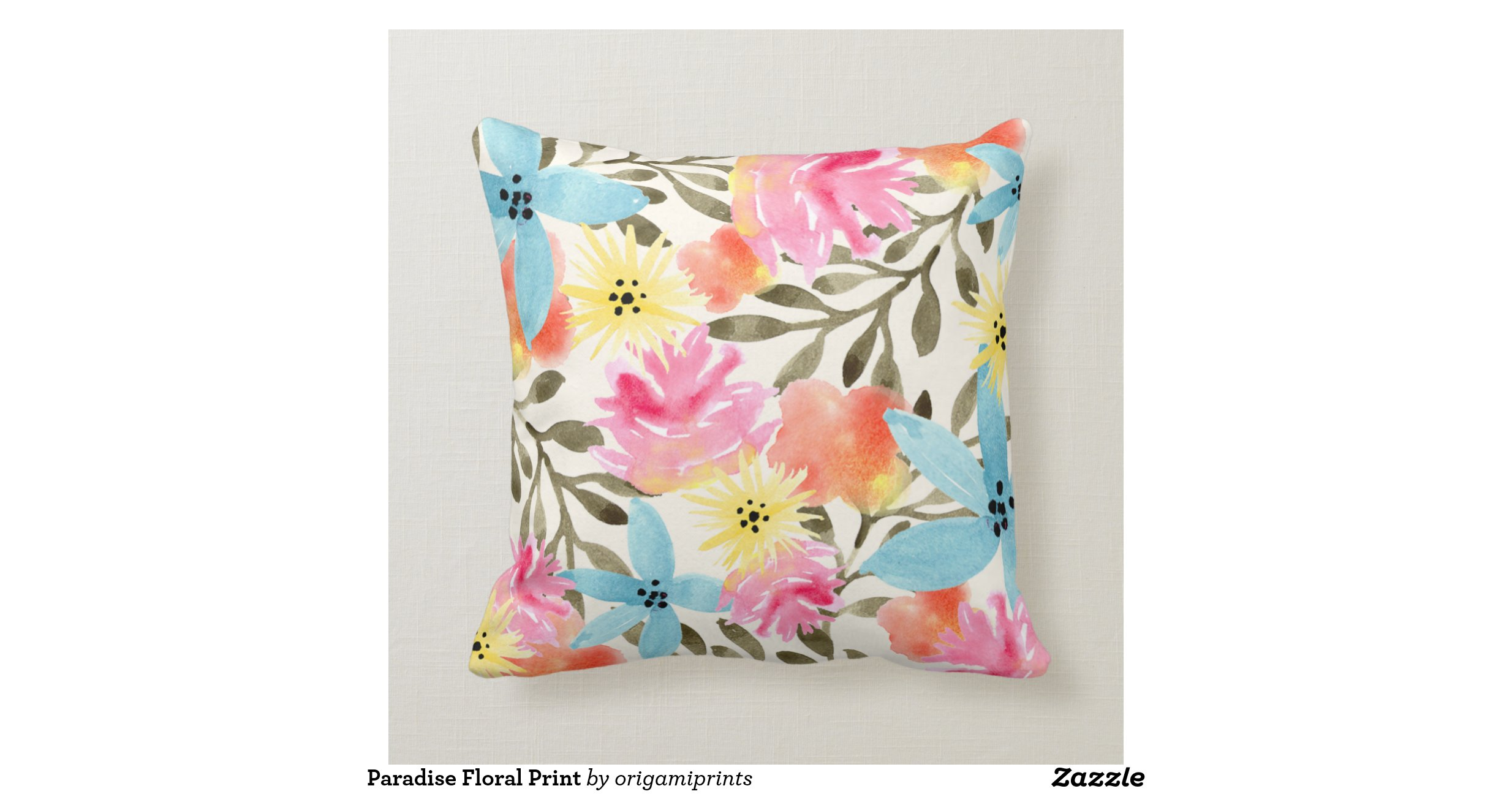 Paradise Floral Print Throw Pillows Zazzle