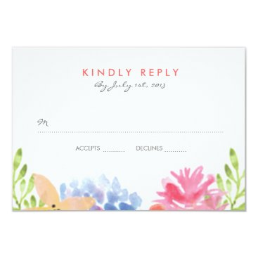 Beach Themed Paradise Floral Wedding RSVP Card