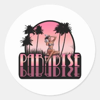 Paradise Girl Classic Round Sticker