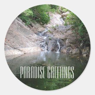 Paradise Greetings Classic Round Sticker