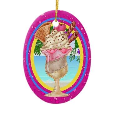 Beach Themed Paradise Ice Cream - SRF Ceramic Ornament