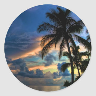 Paradise is where you are round stickers