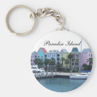 Paradise Island Bahamas Colorful Buildings Keychain
