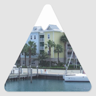 Paradise Island Bahamas Colorful Buildings Triangle Sticker