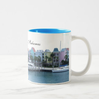 Paradise Island Bahamas Colorful Buildings Two-Tone Coffee Mug
