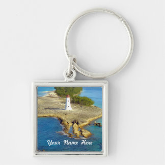 Paradise Island Light Silver-Colored Square Keychain