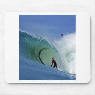 Paradise island surfing perfect wave mouse pad