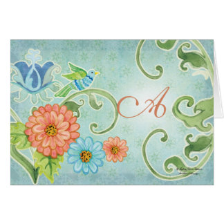 Paradise Love Birds 2, Monogrammed Correspondence Card