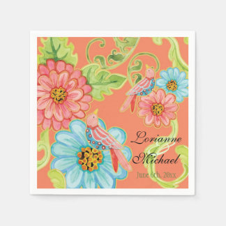 Paradise Love Birds 3, Floral Modern Wedding Decor Standard Cocktail Napkin