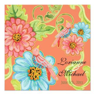 Paradise Love Birds 3, Floral Modern Wedding 5.25x5.25 Square Paper Invitation Card