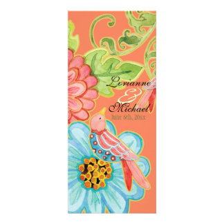 Paradise Love Birds 3, Floral Modern Wedding Menu Invitations