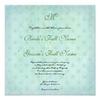 Paradise Love Birds Modern Floral Swirl Damask 5.25x5.25 Square Paper Invitation Card