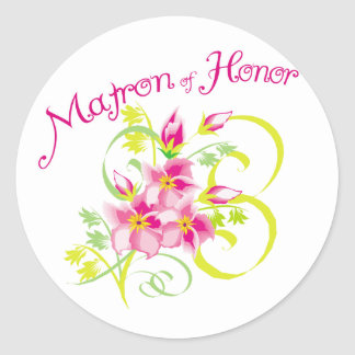 Paradise Matron of Honor Favors Classic Round Sticker