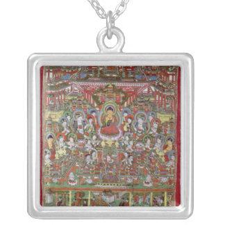 Paradise of Amitabha Square Pendant Necklace