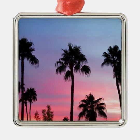 Paradise Palm Tree Sunset Sky Metal Ornament