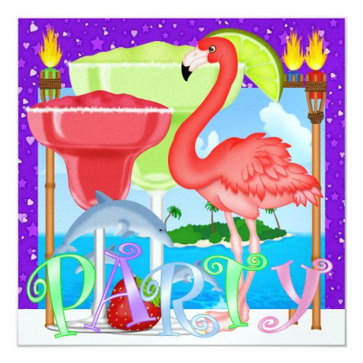 "Paradise PARTY / Luau - SRF 5.25"" Square Invitation Card"