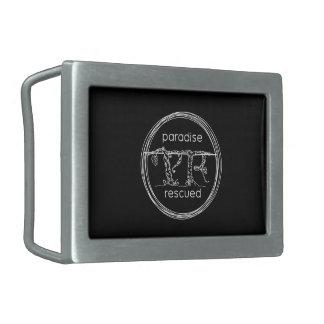 Paradise Rescued Logo on black Rectangular Belt Buckle