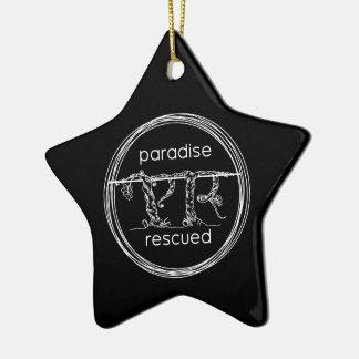 Paradise Rescued Logo on black Ceramic Ornament