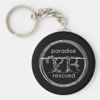 Paradise Rescued Logo on black Keychain