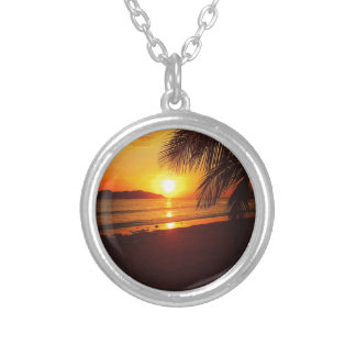 Paradise sunset silver plated necklace