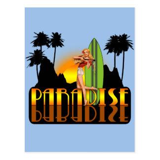 Paradise Surfer Girl Postcard