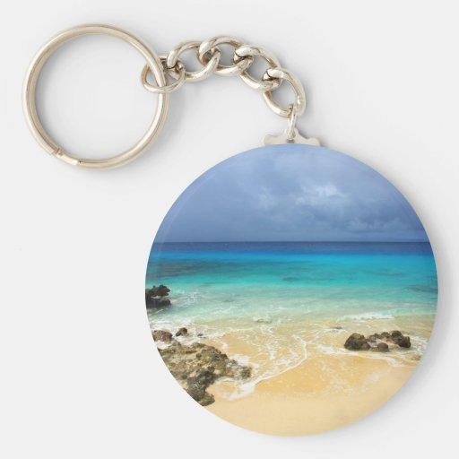 Paradise tropical island beach key chains