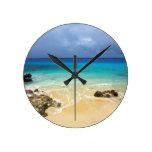 Paradise tropical island beach round wall clock