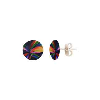 Paradise Tropical Rainbow Abstract Flower Art Earrings