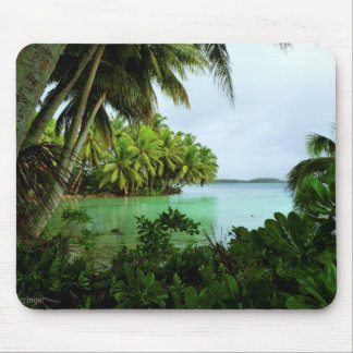Paradise Turquoise Waters and Palm Trees Mouse Pad