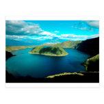 Paradise volcano crater lake postcard