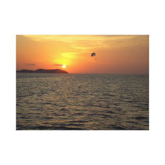 Paraglider at Sunset Stretched Canvas Print