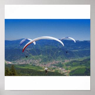 Paraglider flier in the Black Forest Poster