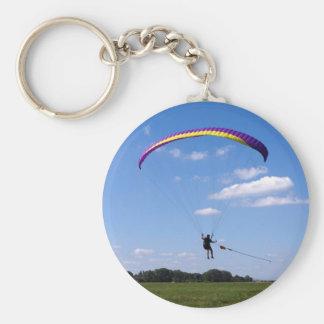 Paraglider Basic Round Button Keychain
