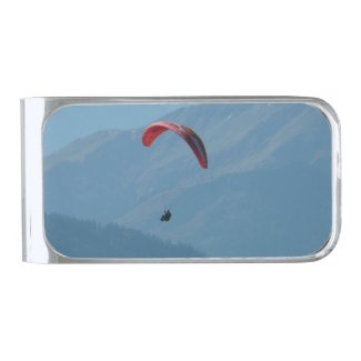 Paraglider Paragliding Silver Finish Money Clip
