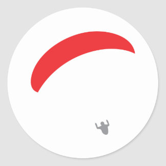 paraglider red - paragliding classic round sticker