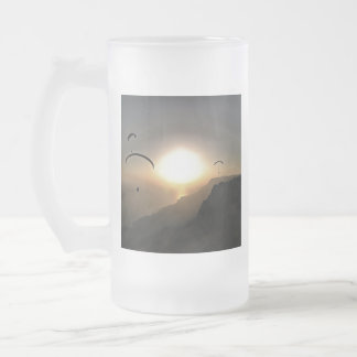 Paragliders Flying Without Wings Frosted Glass Beer Mug